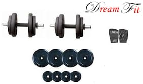 Dreamfit PVC Adjustable Dumbbell Set (10 kg) ( 3x2 / 2x2 ) KG Plate with 1 Pair Rod and  Free Gym Gloves