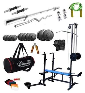 Dreamfit 120 kg Home Gym With 20 In 1 Multi Bench;Gym Bag And Accessories