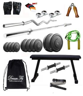 Dreamfit 24 kg Home Gym With 4 Rods (5ft, 3ft curl) Flat Bench, Backpack, Gym Belt and Acc