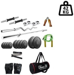 Dreamfit 42 kg Home Gym with 4 Rods (1 5ft , 1 3ft curl), Gym Bag, Gym Belt and Acc