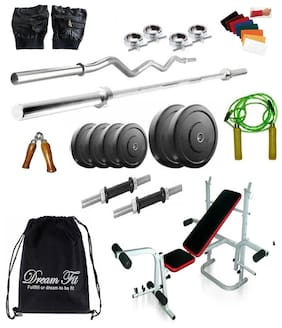 Dreamfit 46 kg Home Gym with 4 Rods (1 5ft Straight , 1 3ft curl ), Multifunction Bench, Backpack and Acc