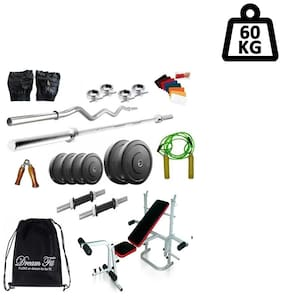 Dreamfit 60 kg Home Gym with 4 Rods (1 5ft Straight , 1 3ft curl ), Multifunction Bench, Backpack and Acc