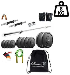 Dreamfit 8 kg Home Gym with 3 Rods (1 x 3ft straight rod) Backpack and Accessories