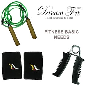 Dreamfit Basic Needs Set Wooden Skipping Rope With Hand Grip And Pair Of Wrist Band