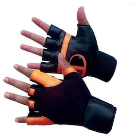 DreamPalace Workout Gloves with Wrist Support for Gym Workouts, Pull Ups Gym & Fitness Gloves  (Orange)