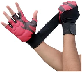 DreamPalace India Gym Gloves With Wrist Support For Workout With Rubber Padded Grip For Men & Women Pair (Red)