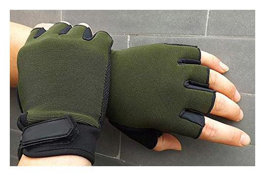 DreamPalace India Gym Gloves   Weight Lifting Hand Grips with Anti Slip Design for Workout Crossfit Fitness Training  Green  Free Size