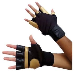 DreamPalace India Gloves with Wrist Support for Gym Workouts, Pull Ups Gym & Fitness Glove (Golden)