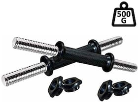 Dumbbell Rod with Plastic Nuts Weight Lifting Bar (Silver)