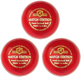 Duroplay Match Edition Cricket Leather Ball Red (Pack of 3)