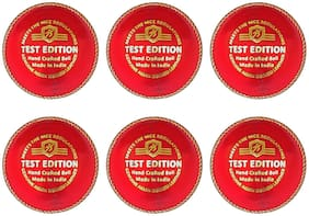 Duroplay Test Edition Cricket Leather Ball Red (Pack of 6)
