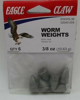Eagle Claw 02040-004 3/8 Oz Worm Weight 6CT 22220