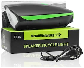 Fabtec Rechargeable Bike/Cycle Super Bright Light & Horn with High/Low/Flashing Beam Function and 140 DB Sound with 5 Different Horn Modes
