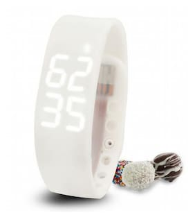 Fitness BanD 3D PeDometer Sleep Temperature Calorie Monitor Time Display Silicon Without SpeeDometer White Smartwatch (White Strap Free Size)