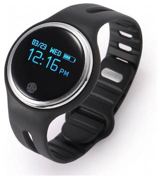 Fitness Band 2 MODES (CYCLING AND WALKING ) CALL NOTIFICATION 3D Pedometer Calorie tracker touch button (Can be weared as necklace ) for swimming Black Smartwatch  (Black Strap Free Size)