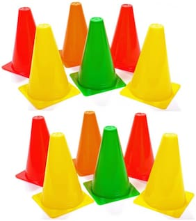 FITNESS SOLUTIONS MARKER CONE FOR SPORTS ACTIVITIES SIZE OF 9 INCHES PACK OF 12 MARKER CONES