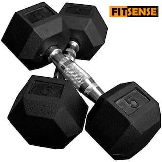 FITSENSE Cast Iron Dumbbell Set ( Set of 2 , 5 kg )
