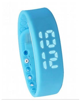 FLIPFIT Fitness BanD 3D PeDometer Sleep Temperature Calorie Monitor Time Display Silicon Without SpeeDometer Blue Smartwatch