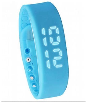 FLIPFIT Fitness BanD 3D PeDometer Sleep Temperature Calorie Monitor Time Display Silicon Without SpeeDometer Blue Smartwatch (Blue Strap Free Size)