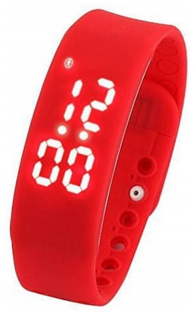 FLIPFIT Fitness BanD 3D PeDometer Sleep Temperature Calorie Monitor Time Display Silicon Without SpeeDometer Red Smartwatch