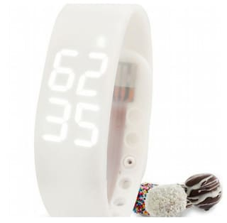 FLIPFIT Fitness BanD 3D PeDometer Sleep Temperature Calorie Monitor Time Display Silicon Without SpeeDometer White Smartwatch