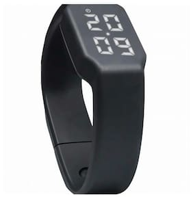 Flipfit Fitness BanD 3D PeDometer Sleep Temperature Calorie Monitor Time Display Silicon Without SpeeDometer Black Smartwatch