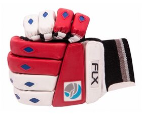 FLX Cricket Batting Gloves-White And Red (Size-L) Left Handed Mens