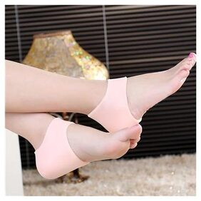Footful Pair Silicone Moisturising Gel Heel Cracked Foot Care Protectors Socks -Nude