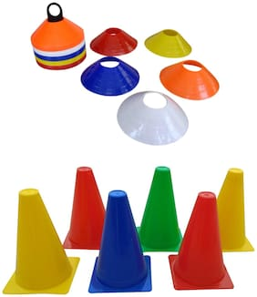Foricx Combo of 12-Pieces 6-inch Marker Cone and 50 Saucer Cones with Plastic Stand (Multicolour), Cone for Sports, Football Cones, for Marking and Tracking
