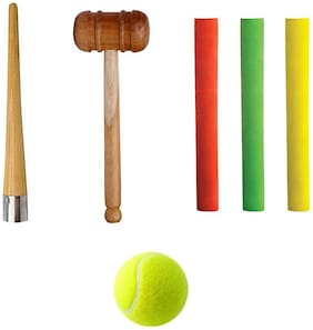 Foricx Sports Combo - Wooden Hammer, WOODEN MALLET with 3 Bat Grip and One Cone Set and One Tennis Ball