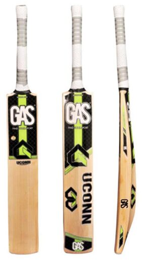 Gas Uconn English Willow Cricket Bat-Green And Black