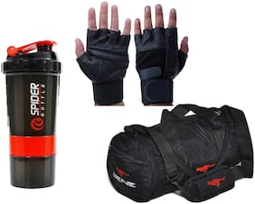 Gene MN-0117 Classic combo Gym Bag And Gym Glove With Spider Shaker Wrist Support Combo Gym & Fitness Kit