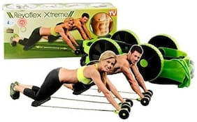 Gjshop Men Woman Fitness Abdominal Trainer Revoflex Xtreme ABS workout Kit Resistance Bands Exercise Multifunction Crossfit Exercise Ab Exerciser (Green)