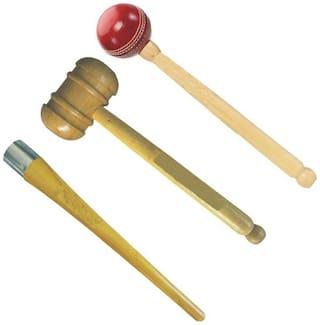 GLS Cricket Bat Knocking 2 Wooden Hammer Mallet & 1 Grip Cone