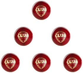 GLS Genuine Leather 4 Piece Red Cricket Ball Standard Size 5.5 - Pack of 6
