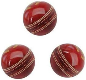 GLS Genuine Leather 2 Piece Cricket Ball Standard Size 5.5 - Pack of 3
