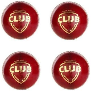 GLS Genuine Leather 4 Piece Red Cricket Ball Standard Size 5.5 - Pack of 4