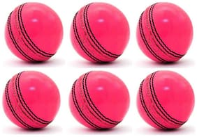 GLS Genuine Leather 2 Piece Natural Pink Cricket Ball Standard Size 5.5 - Pack of 6