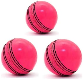 GLS Genuine Leather 2 Piece Natural Pink Cricket Ball Standard Size 5.5 - Pack of 3