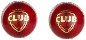 GLS Genuine Leather 4 Piece Red Cricket Ball Standard Size 5.5 - Pack of 2
