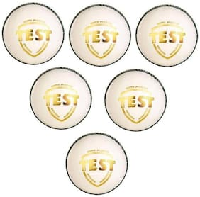 GLS Genuine Leather 4 Piece White Cricket Ball Standard Size 5.5 - Pack of 6