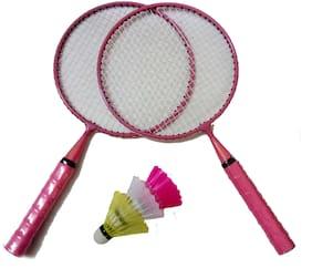 GLS Kids Badminton Kit 2 Racquets & 3 Shuttle Cocks - Pink