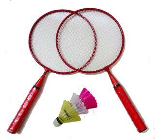 GLS Kids Badminton Kit 2 Racquets & 3 Shuttle Cocks - Red