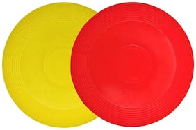 GLS Non-Slip Assorted Colour Plastic Flying Disc Frisbee - Pack of 2