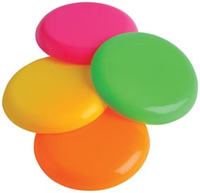 GLS Non-Slip Assorted Colour Plastic Flying Disc Frisbee - Pack of 4