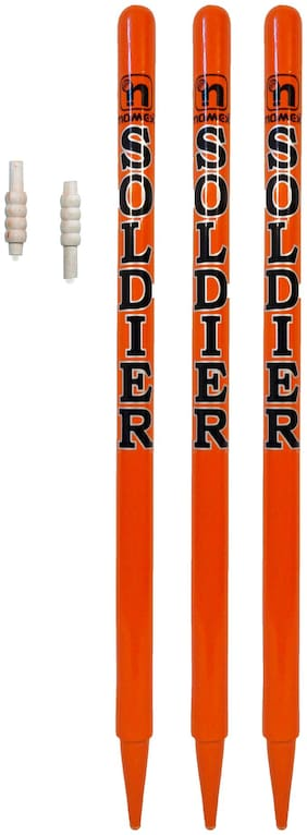 GLS Red Soldier Cricket Wooden Stumps (Set of 3) With Free Bails