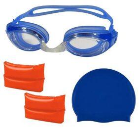 GLS Swimming Combo Kit - 1 Swimming Cap 1 Swimming Goggle 1 Pair Arm Band