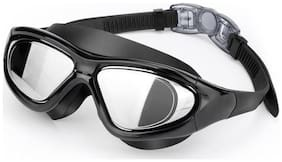GLS Unisex Premium UV Protection & Anti Fog Shield Wide Vision Swimming Goggles With Ear Plugs With Hard Plastic Cover