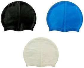 GLS Unisex Swimming Non-Slip Highly Durable Silicon Cap - Combo of 3 Black Blue & Silver