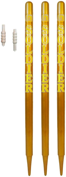 GLS Yellow Soldier Cricket Wooden Stumps (Set of 3) With Free Bails